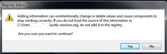 Transfer Putty sessions - registry editor confirmation