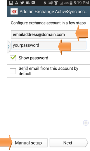Configure Microsoft Exchange Active Sync account on Android