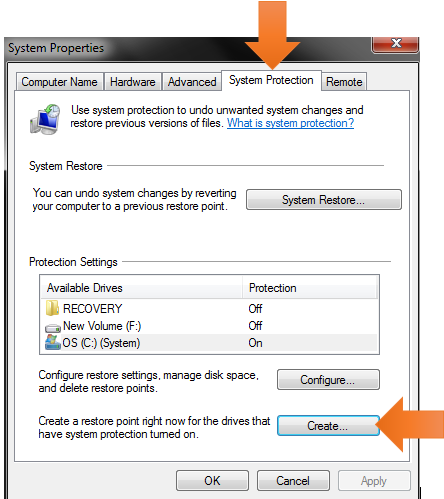 Windows system restore-system properties