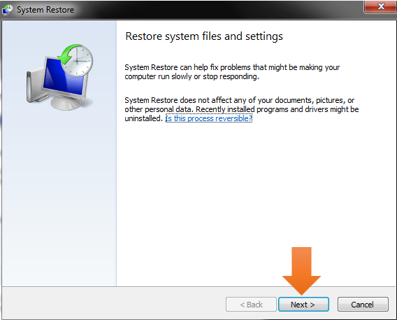 windows system restore-select file