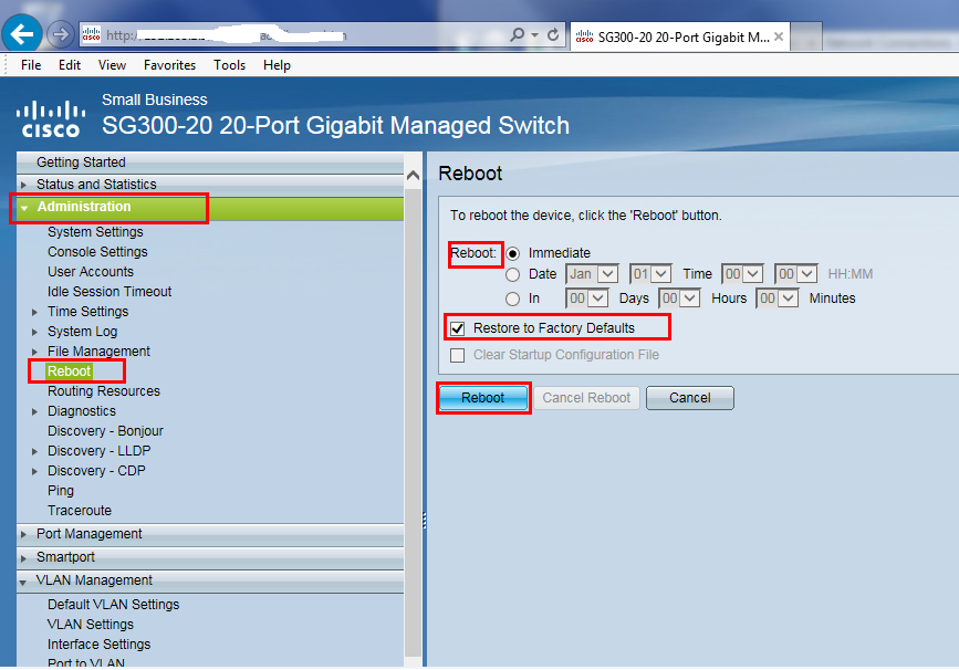 Reset Cisco SG300 switch to factory default