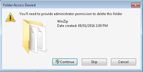 WinZip error code 5 delete confirmation