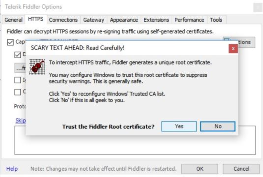 fiddler options root certificate