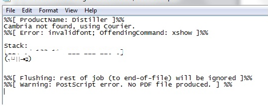 Adobe distiller error-invalid fonts